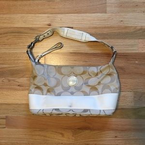 COACH signature stripe hobo women's purse handbag.